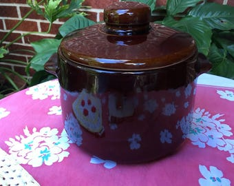 Vintage Bean Pot by West Bend, Ceramic Bean Pot