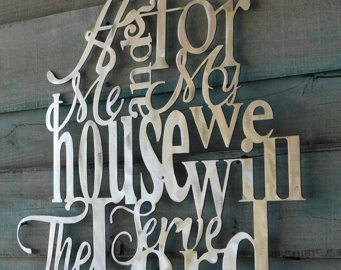 As for me and my house sign, We will serve the lord, As for me and my house, Joshua 24:15, Bible Verse Wall Art, Bible Verse Metal Sign