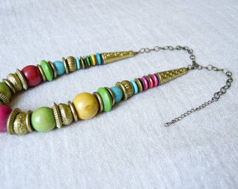 Chunky Multicolored Wood & Brass Necklace | African, tribal, ethnic Jewelry | wooden beads, brass details | handmade in Kenya