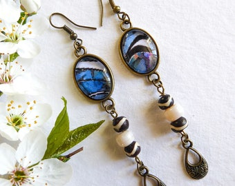 Long earrings, abstract, digital image cabochon blue black and white, Blue Zebra
