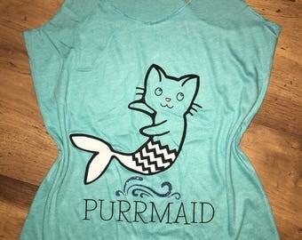 Purrmaid racerback, funny cat shirt