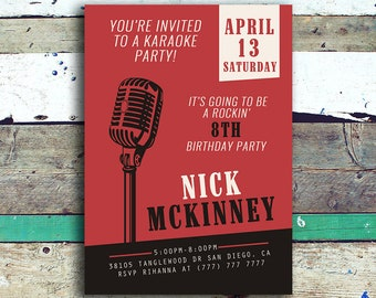 Karaoke Birthday Invitation | Karaoke Invitation | Karaoke Birthday Party Invitation | Singing Party Invitation | Music Invitation
