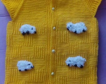 Unisex Baby Vest, Unisex Baby Sweater, Unisex Blue Baby Vest, Unisex Baby Yellow Vest, Baby Vest with Sheep Figure, Car Figure Baby Vest