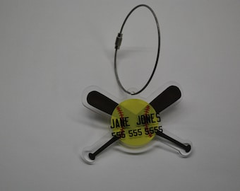 Softball Keychain, Luggage Tag or Ornament