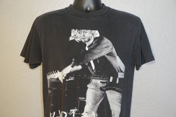 90's Kurt Cobain - The End of Music RARE Nirvana Concert Vintage Large T-Shirt