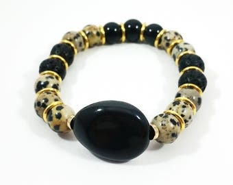 Golden Onyx~ Handmade Stretch Bracelet~ Genuine Black Onyx & Dalmatian Jasper~ 14K Gold Filled Ring Spacers~, Adjustable~ Leopard Inspired
