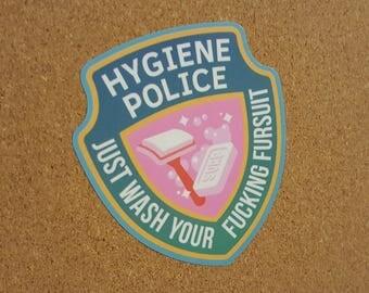 Hygiene Police: Wash Your Fursuit – Weatherproof Vinyl Sticker