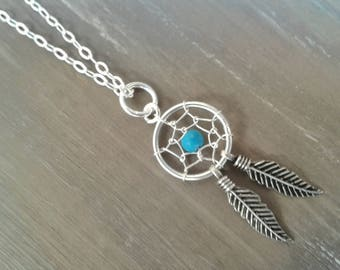 DreamCatcher, necklace silver necklace, Choker turquoise necklace, dreamcatcher, silver jewelry, boho