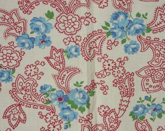 Vintage Paisley Floral Fabric, Maroon Paisley Fabric, Blue Flower Paisley Fabric, Vintage Floral Cotton Fabric, Cottage Chic Rustic Charm