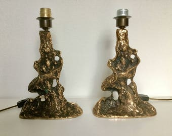 A pair of bronze table lamps mid century modern 1970s
