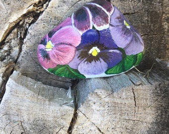 Pansies hand painted on river rock