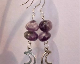 Chervon Amethyst Crescent Moon Earrings/Sterling Silver Hooks