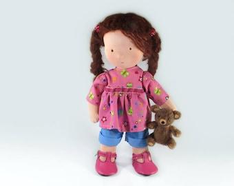 Waldorf Doll with felted Teddy pal