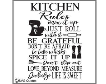 SVG Cutting File Kitchen Rules DXF EPS For Cricut Explore, Silhouette & More.Instant Download. Personal and Commercial Use. Vinyl Stickers
