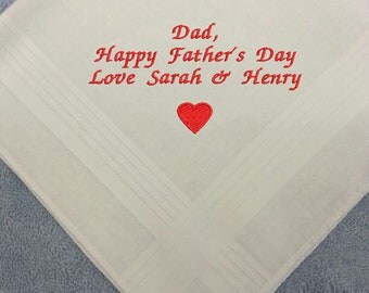 Personalised EMBROIDERED HEART MOTIF Mens Father's Day Dad Handkerchief Hankie Gents Gift Anniversary