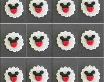 12 x Mickey Mouse Cupcake Toppers, Mickey Mouse decorations,  Edible fondant Mickey Mouse cake toppers