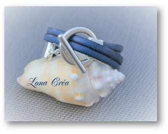 Blue leather - silver Toggle clasp bracelet