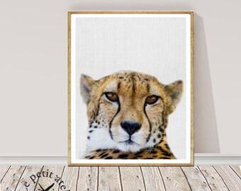 Nursery Wall Art, Cheetah Print, African Safari Animal, Printable Decor, Digital Download, Peekaboo Animal, Large Poster, Baby Animal