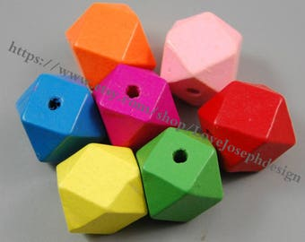 wholesale 20pcs Unfinished 20mm colorful Wood beads Spacer Beads faceted wooden accessories(#0407)