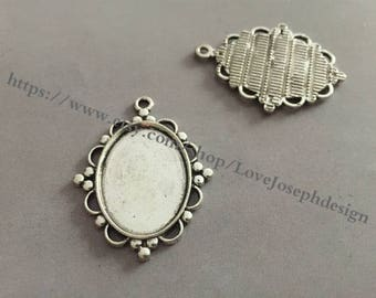 wholesale 100Pieces /Lot Antique silver Plated 18mmx25mm cabochon trays charms (#0464)