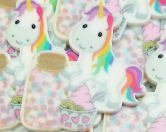 35mm Decoden UNICORN cabochon resin rainbow and candy animal flatback planar supply accessories kawaii cabochon jewelry decoden phone case