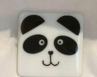 Panda glass coaster , fused glass