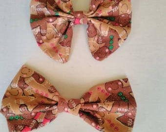 Cookie hair bow, Ginger bread man bow, Cookie Man headband, winter hair bow, baby hair bow, Ginger snaps hair bow