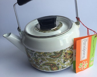 NOS Fancipans Vintage Enamelware 70s Tea Kettle Mid Century Kitchen Hippie Boho