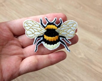 Bee Patch Bumblebee Brooch Embroidered Patch, Insect Patch, Animal Patch, Applique Iron On Patch, Gifts for her, gifts for her, Patches