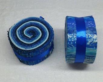 Batik Jelly Roll - Blue Tones - 40 strips