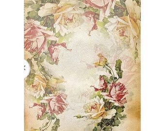 1 sheet of rice paper 21 x 28 cm decoupage collage flower rose 1171