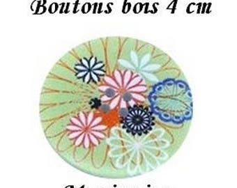 2 buttons wood flower green 4 cm