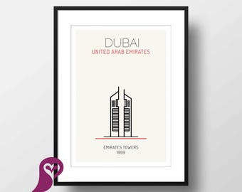 Emirates Towers Poster   Dubai   Buildings   Architecture   Wall Art   Wall Decor   Home Decor   Office Decor   Poster   Digital Download