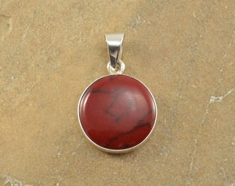 Red Marble Cabochon Stone Circle Bezel Set Pendant Sterling Silver 7.4g