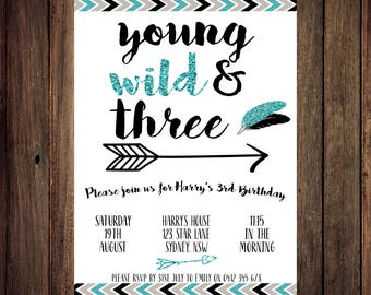 Young Wild and Three Invitations, Young Wild and Three Birthday, Young Wild and Three Party, Third Birthday Invitation, Printable Invitation