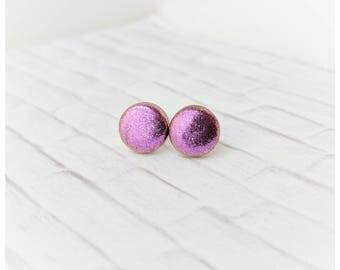 Plum shimmery earrings teal glitter earrings lightweight earrings stud earrings bridal party gift nickel free earrings mauve earrings small