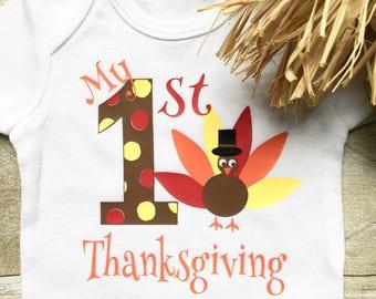 My First Thanksgiving Onesie, Baby Thanksgiving Clothes, 1st Thanksgiving Outfit, Thanksgiving Bodysuit, Newborn Thanksgiving Onesie