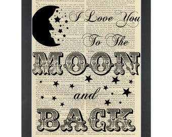 Dictionary Art-I Love You To The Moon