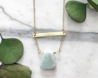 Amazonite Gold Necklace/ Raw Amazonite Necklace/ Gemstone Necklace