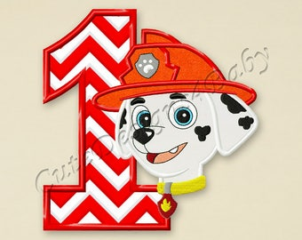 SALE! Paw Patrol Marshall Number 1 applique embroidery design, Paw Patrol Machine Embroidery Designs, designs baby, Instant download #053