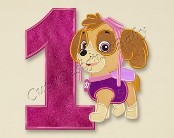 SALE! Paw Patrol Skye First birthday applique embroidery design, Paw Patrol Machine Embroidery Designs, Embroidery designs baby, #077