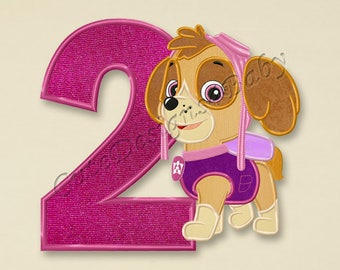 SALE! Paw Patrol Skye Second birthday applique embroidery design, Paw Patrol Machine Embroidery Designs, Embroidery designs baby, #078