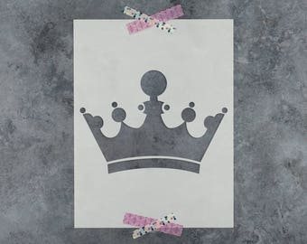 King Crown Stencil - Laser Cut Reusable Stencil of King's Crown