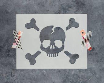 Skull and Cross Bones Stencil - Reusable DIY Craft Stencils of a Skull and Cross Bones