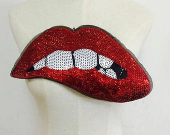 1pcs Big Red Lip mouth patches Applique Sewing Handmade Bling Bling Sequins Patch  no.98