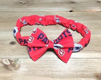 Matching Headbands- New England Patriots; Patriots Headband; Patriots Bow; Patriots Headwrap; Mommy and Me Headbands; Bow Headband; Bandana