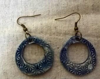 Earrings Creole rings terracotta ceramic blue green pattern highlights flowers Japan