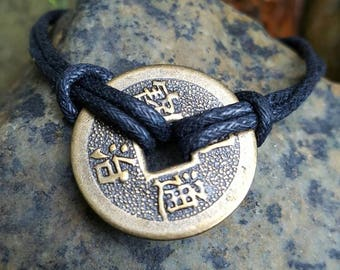 1 Coin Chinese Feng Shui Braclet for Good Luck and Prosperity