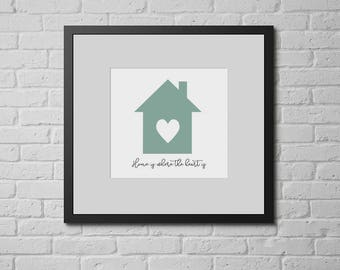 Home is Where the Heart is Framed Digital Print, A4/A3, House and Heart, House Print, Family Gift, Housewarming Gift, Christmas Gift