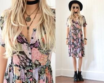 Black Floral Dress 90s Grunge Dress Vintage Floral Dress Boho Dress 90s Dress Floral Dress Vintage 90s Clothing Floral Bohemian Dress S M